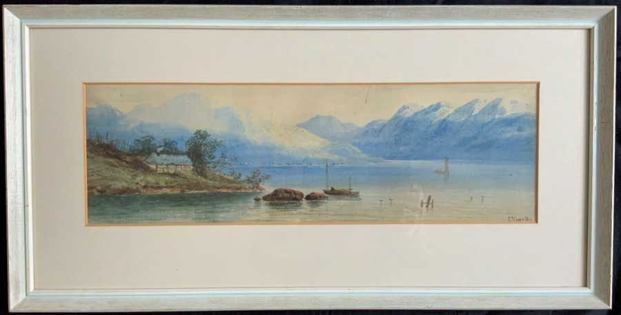 Edwin Earp (1851-1945) 19thc SCOTTISH LOCH LANDSCAPE WATERCOLOUR PAINTING