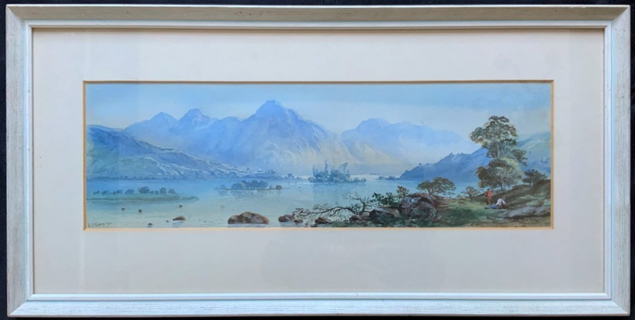 Edwin Earp (1851-1945) LOVELY 19thc SCOTTISH LOCH LANDSCAPE WATERCOLOUR PAINTING