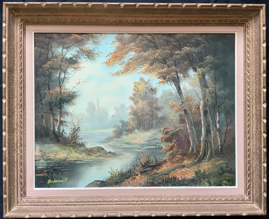 LARGE MAGNIFICENT 20thc AUTUMN RIVER & WOODLAND LANDSCAPE OIL ON CANVAS PAINTING
