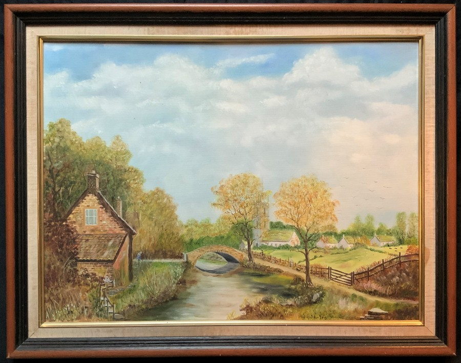 Hugh Dawson Young (20thc) OIL PAINTING A COUNTRY HAMLET LANDSCAPE IN YORKSHIRE