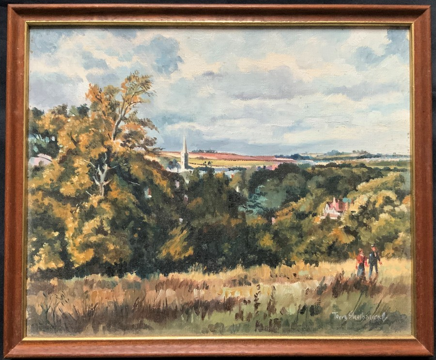 'Terry Shelbourne' (b.1930) 20thc ANTIQUE LINCOLNSHIRE LANDSCAPE OIL PAINTING