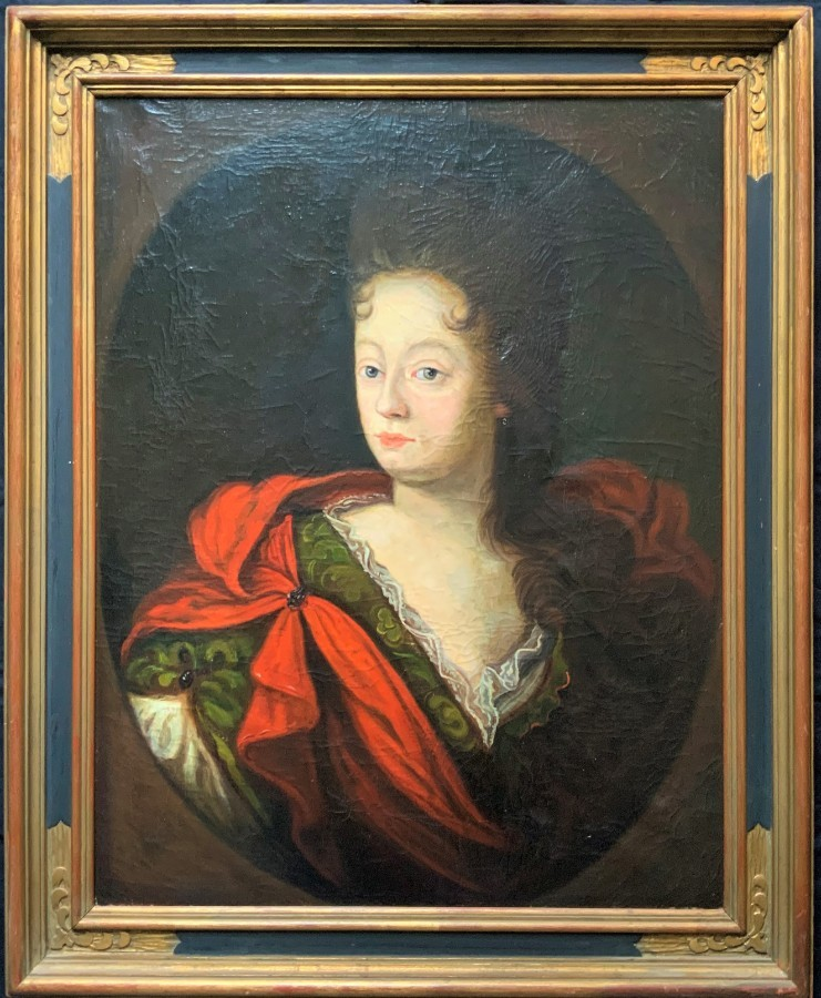 ''SOCIETY LADY'' LARGE MAGNIFICENT ANTIQUE OIL PORTRAIT PAINTING - 17thc REVIVAL