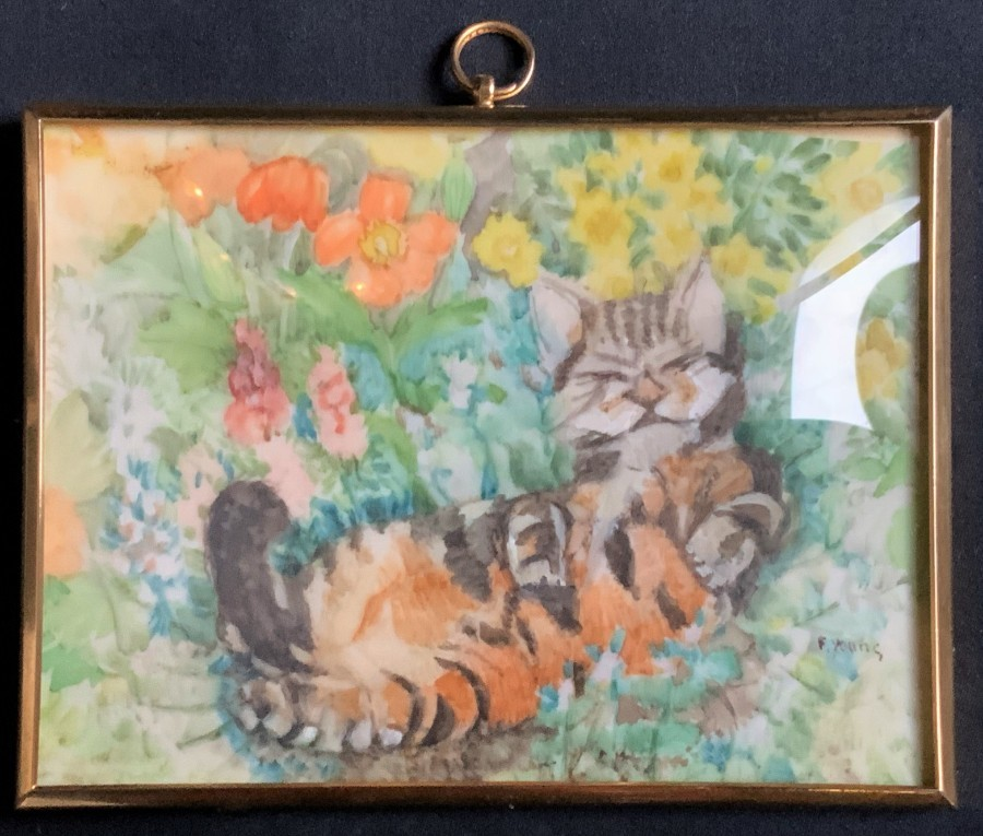 'Florence Young' R.M.S. A 20thc ANTIQUE MINIATURE OIL PORTRAIT PAINTING OF A CAT