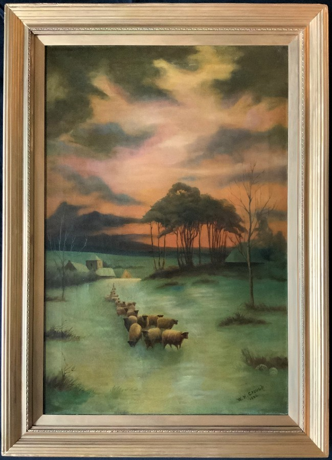 SUPERB 1922 ANTIQUE 'Sheppard & His Flock' FARMING WINTER LANDSCAPE OIL PAINTING