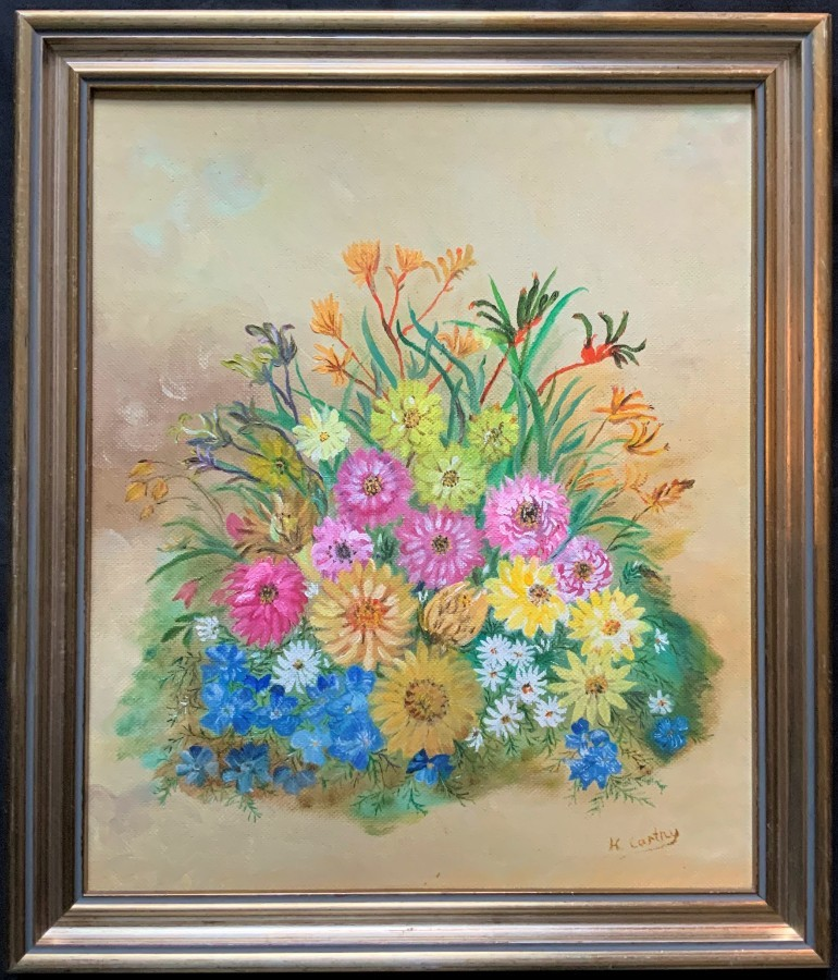 'H Carthy' FABULOUS ORIGINAL 20thc FLORAL STILL LIFE STUDY FRAMED OIL PAINTING