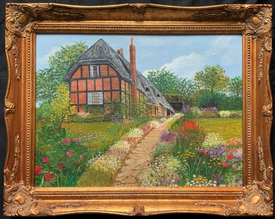 H Carthy. MAGNIFICENT 20thc OIL PAINTING OF A 'Herefordshire Thatched Cottage'