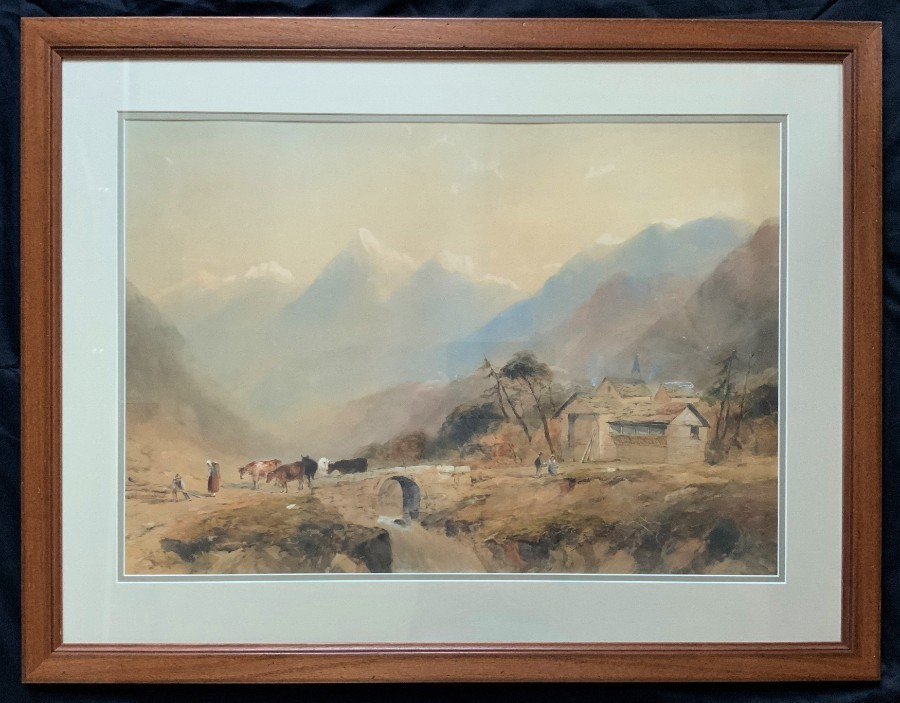 Edward Tucker (1825-1909) LARGE OUTSTANDING MOUNTAINOUS LANDSCAPE WATERCOLOUR