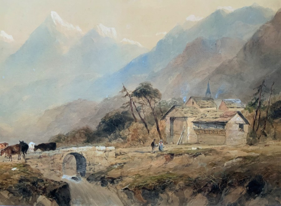 Antique Edward Tucker (1825-1909) LARGE OUTSTANDING MOUNTAINOUS LANDSCAPE WATERCOLOUR