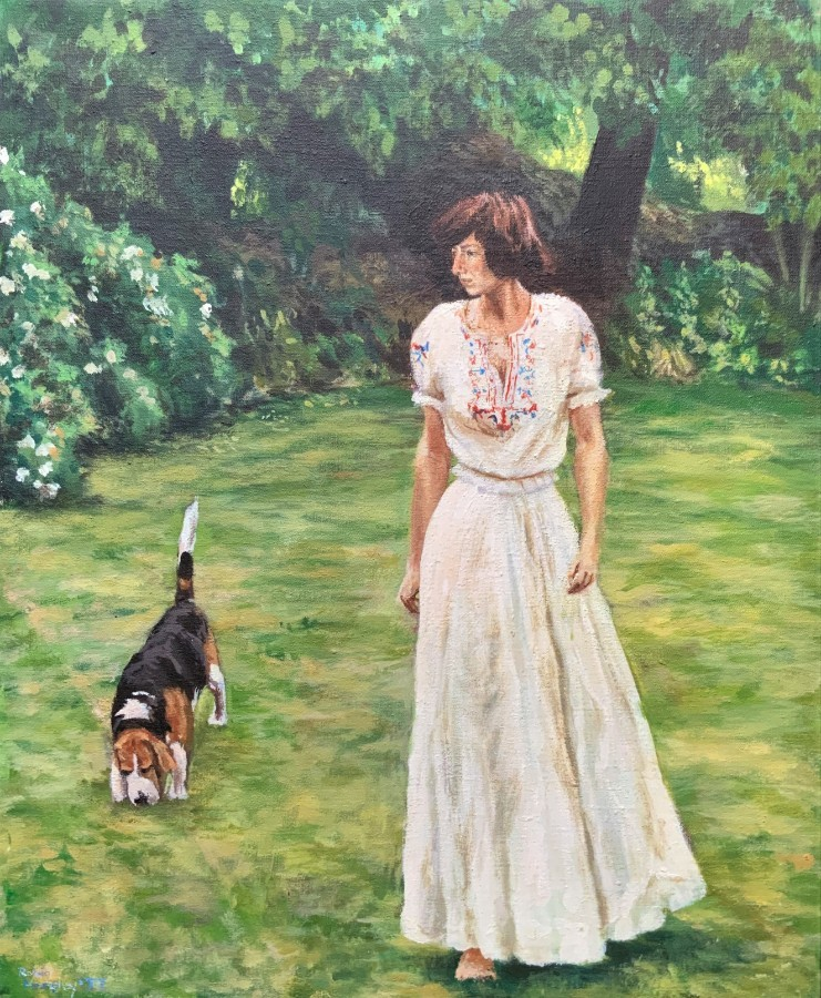 A FABULOUS 1977 VINTAGE ANTIQUE OIL PORTRAIT PAINTING 'Walking the Basset Hound'