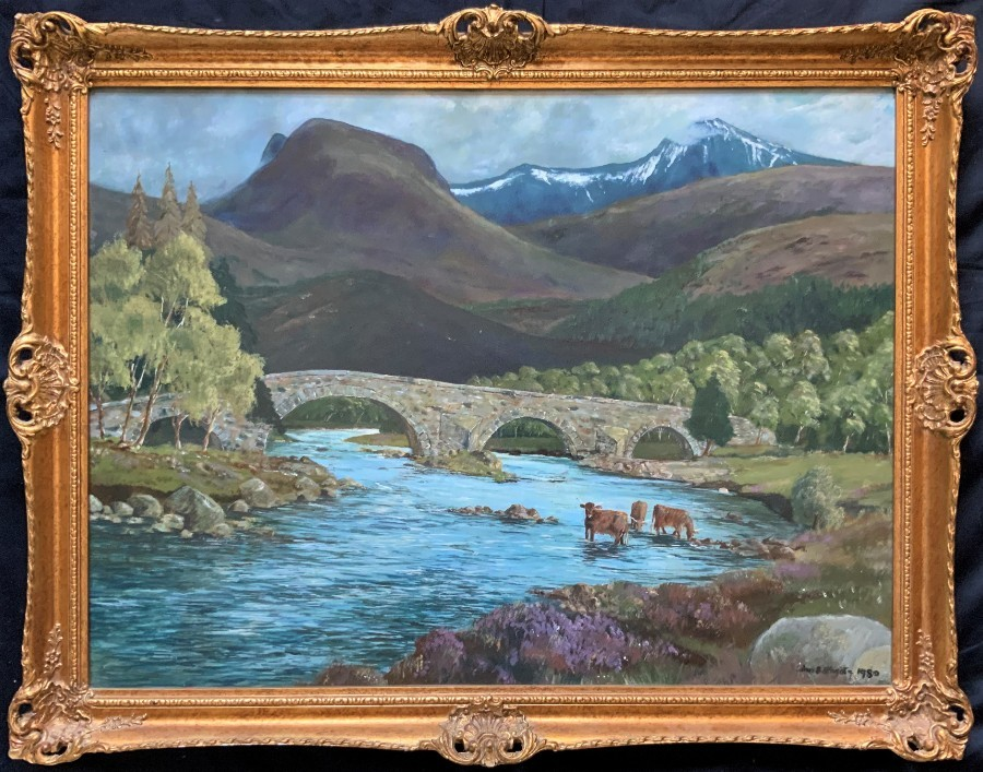 'John Bathgate' (20thc, Scottish) SUPERB HIGHLAND CATTLE LANDSCAPE OIL PAINTING