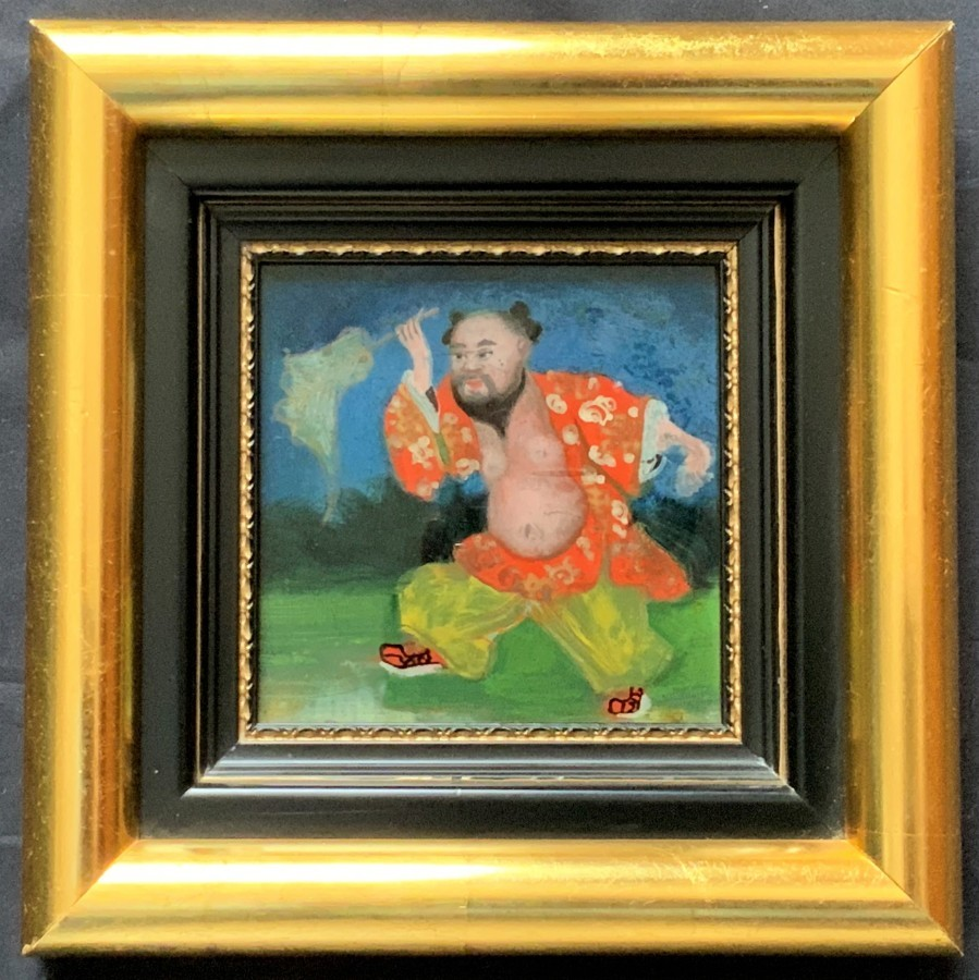 FINE, RARE 19thc 'Qing Dynasty' MINIATURE CHINESE OIL PORTRAIT PAINTING ON GLASS