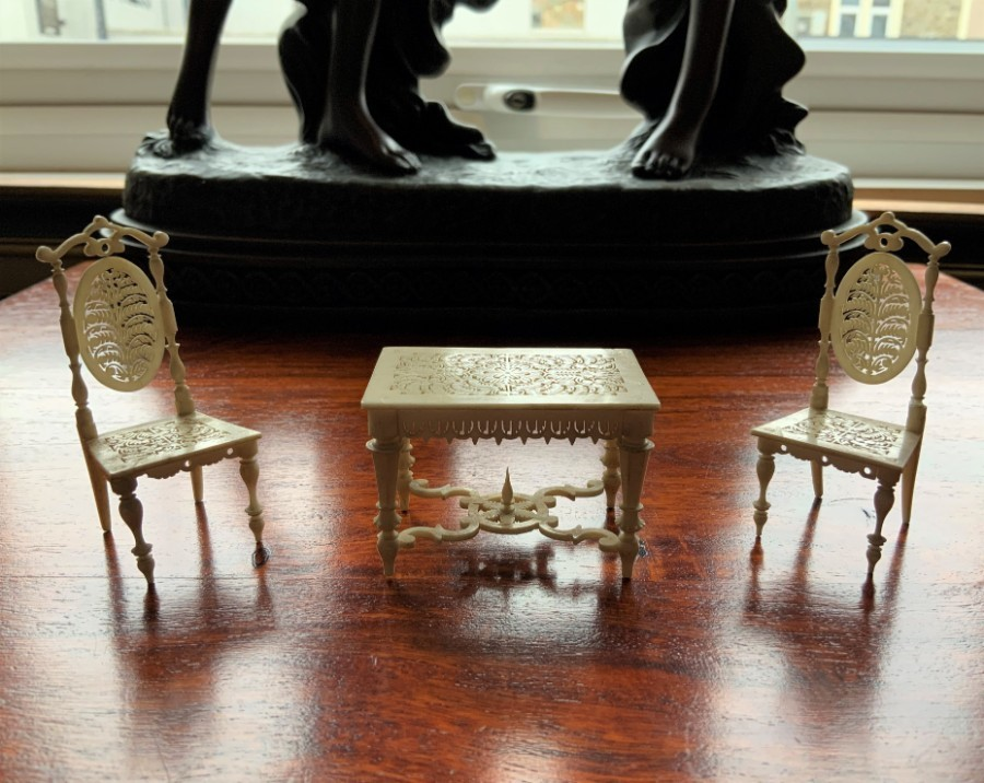 Circa 1810 EXCEPTIONAL NAPOLEONIC PRISONER OF WAR MINIATURE CARVED FURNITURE SET