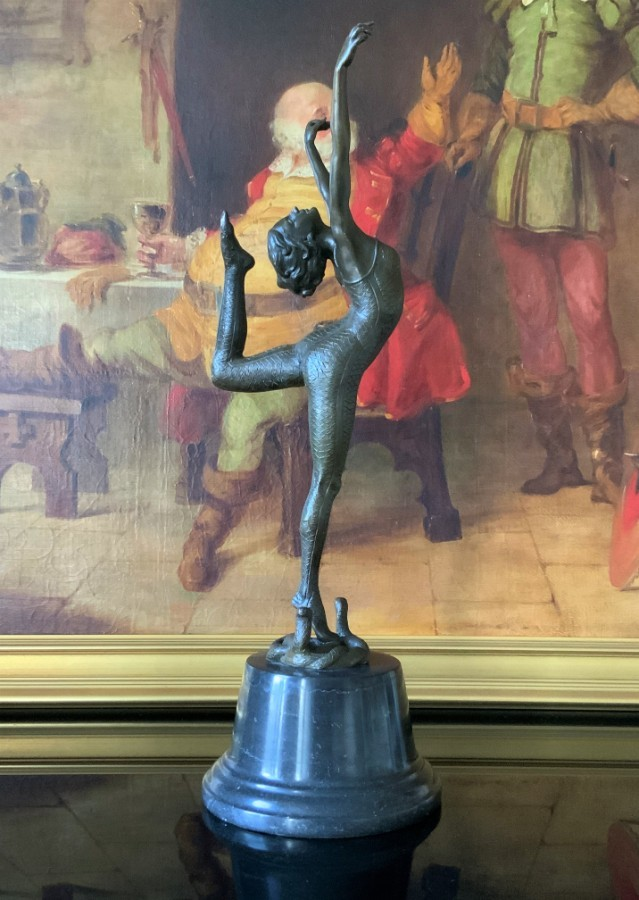 TALL BEAUTIFUL QUALITY 20thc ART-DECO BRONZE BALLERINA DANCER STATUE FIGURINE
