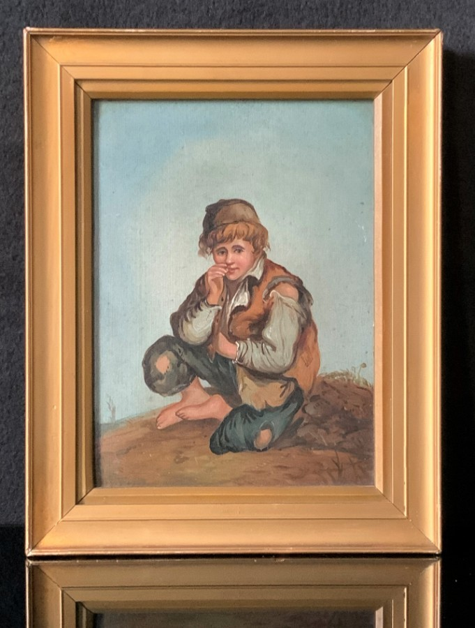 Lovely Early 1900s Antique Gilt Framed Oil Portrait Painting 'A Mischievous Boy'
