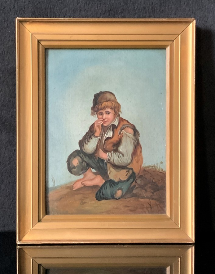 Antique Lovely Early 1900s Antique Gilt Framed Oil Portrait Painting 'A Mischievous Boy'
