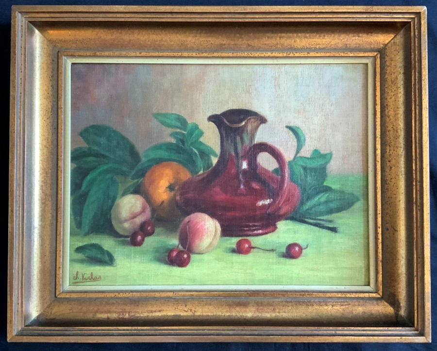Lovely 20thc Vintage Antique Still Life Fruit Study Oil - Signed - Gilt Framed