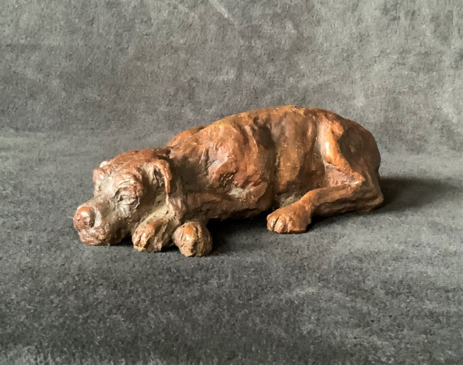 Superb 20thc Contemporary Solid Bronze Sculpture Figurine of Relaxing Brown Dog