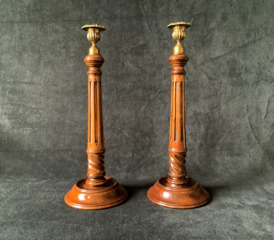 Pair Of Beautiful Tall Georgian Revival Mahogany & Brass Candlestick Holders