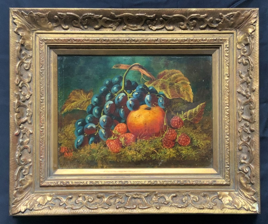 Beautiful Fruit Still Life Oil - 19th Century Antique - Victorian - Gilt Frame