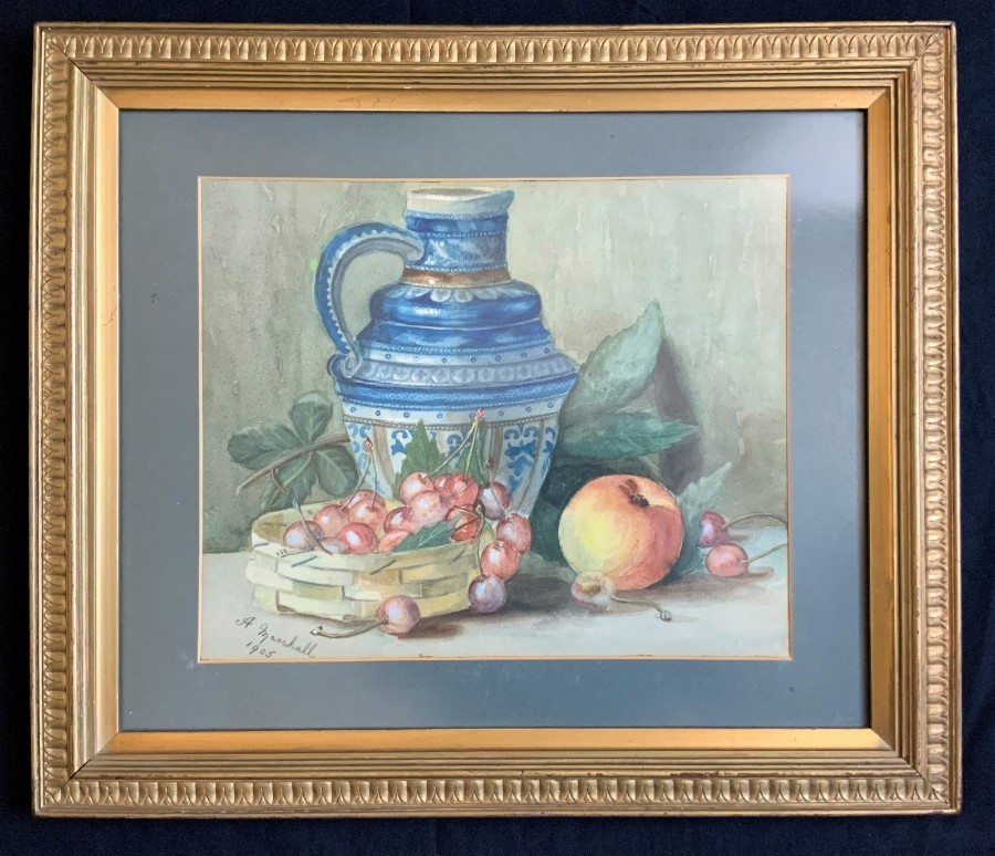 Superb 1905 Signed/Dated Edwardian Antique Still Life Fruit Watercolour Painting