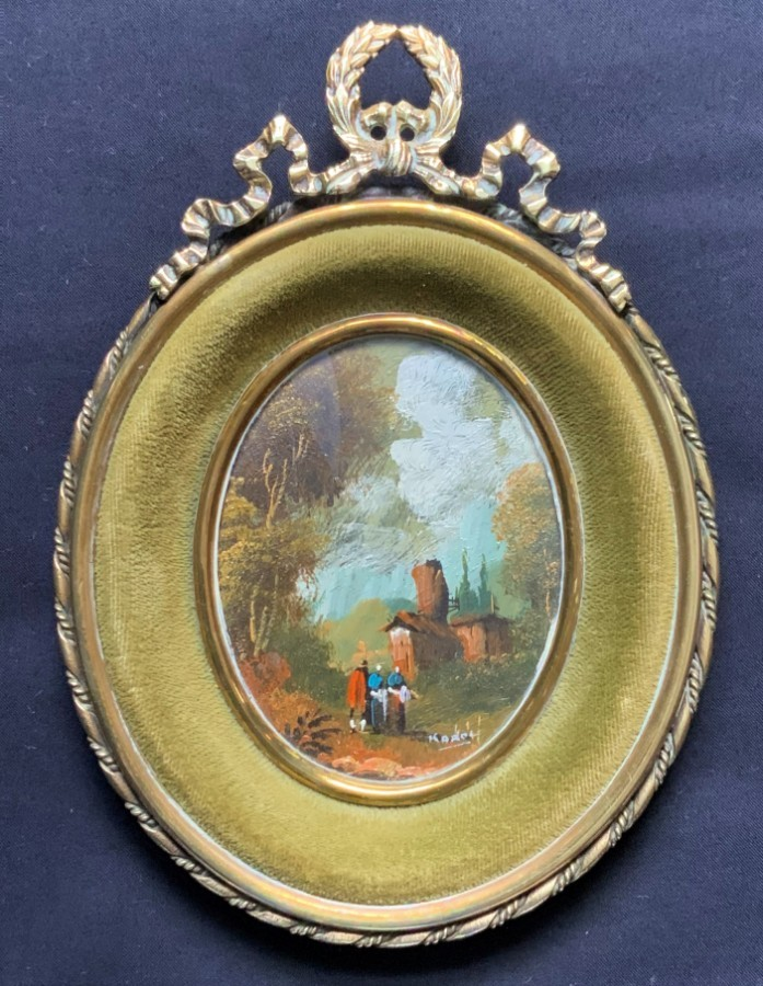 Exquisite 20thc Antique Miniature Swiss Landscape Oil - Superb Oval Brass Frame