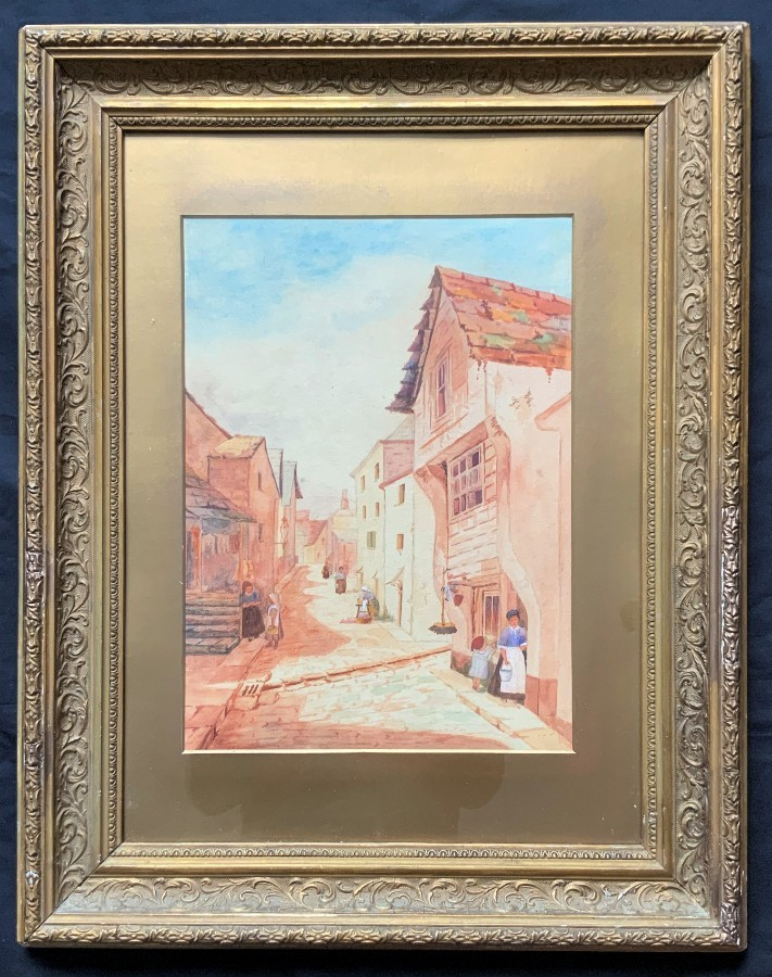 Gorgeous - Original - 19thc - Continental Sch - Cityscape Watercolour Painting