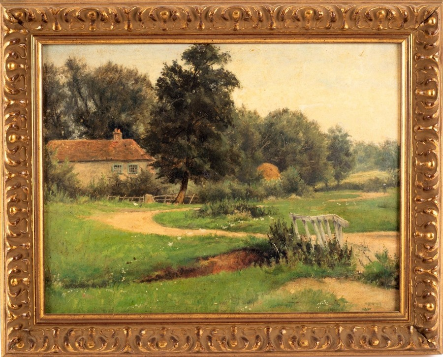 Original - Early 20thc - 1916 - English School - Oil - Rural Country Landscape