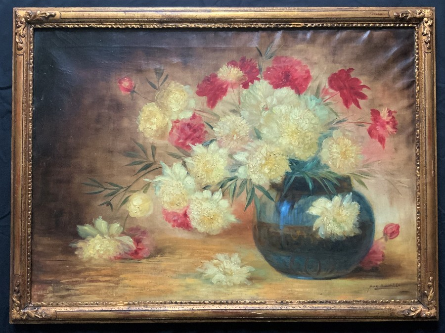 Very Large - Vintage - Retro - Mid-Century - Still Life - Floral - Oil Painting