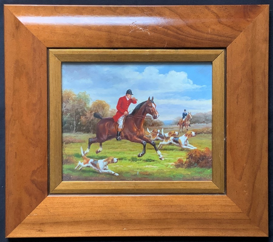 Fabulous - 20thc - Vintage Antique - Horse & Hound - Fox Hunting - Oil Painting