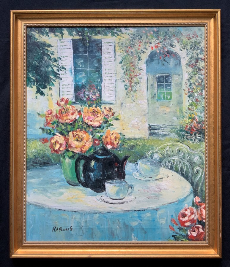 Vintage - 20th Century - French Impressionist - Oil - French Garden tea for two