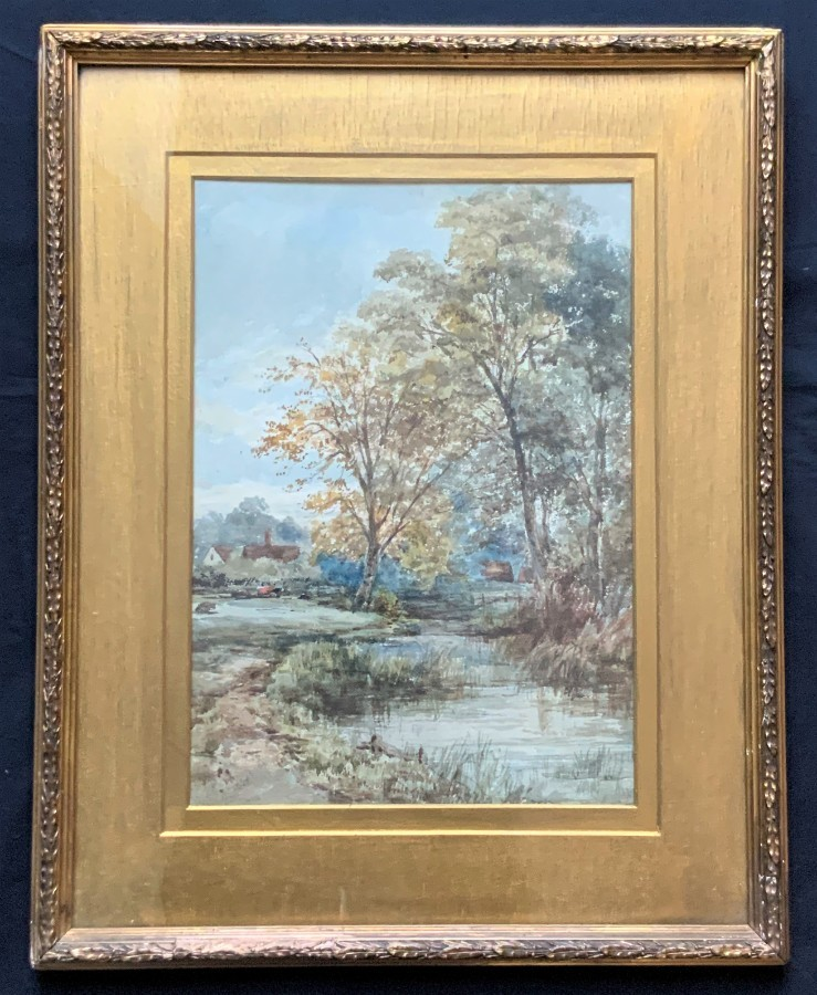 Outstanding Original 19thc English Country Landscape Watercolour Painting C1880