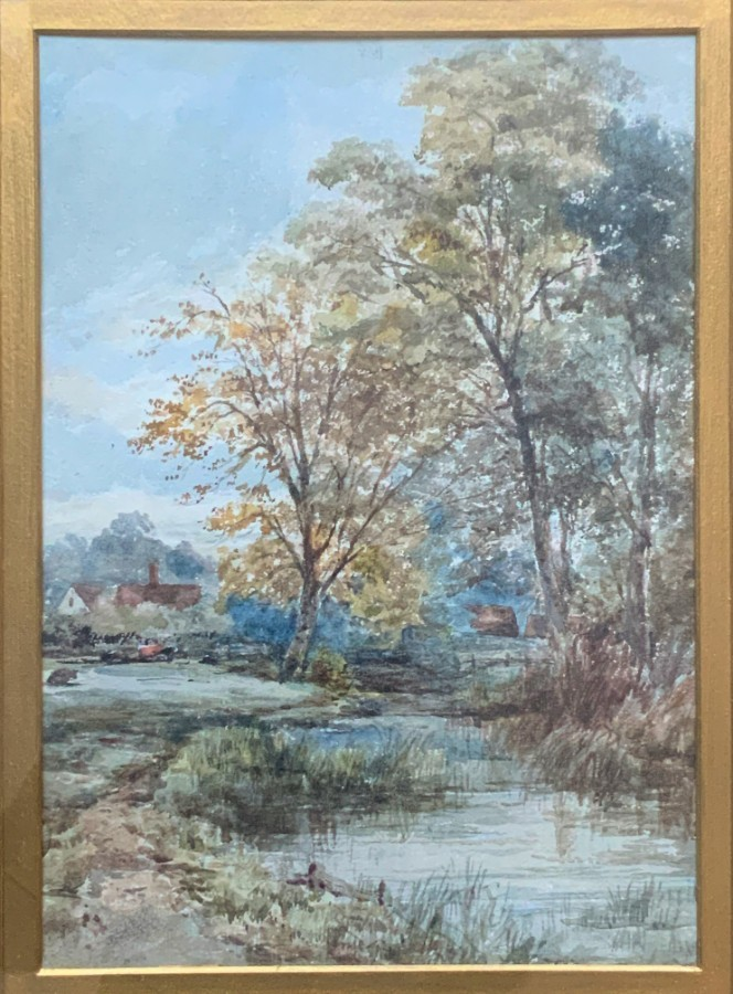 Antique Outstanding Original 19thc English Country Landscape Watercolour Painting C1880