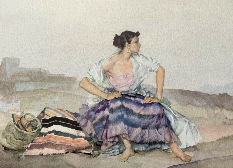 Large Superb Original 'Sir William Russell Flint' Vintage Print Inc Blind stamp