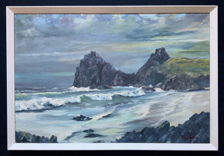 Original Signed Mid-20thc Vintage Moonlit Coastal Beach Seascape Oil Painting