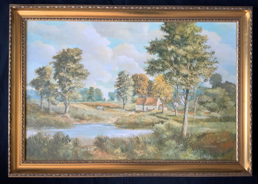Beautiful - Large Vintage - Gilt Framed - Oil Painting - Signed - English School