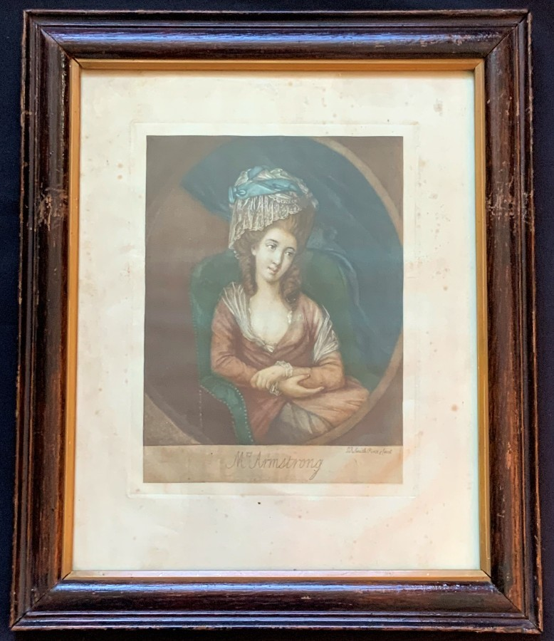 Late 18thc Antique Coloured Engraving portrait Print 'Mrs Armstrong' Beautiful!