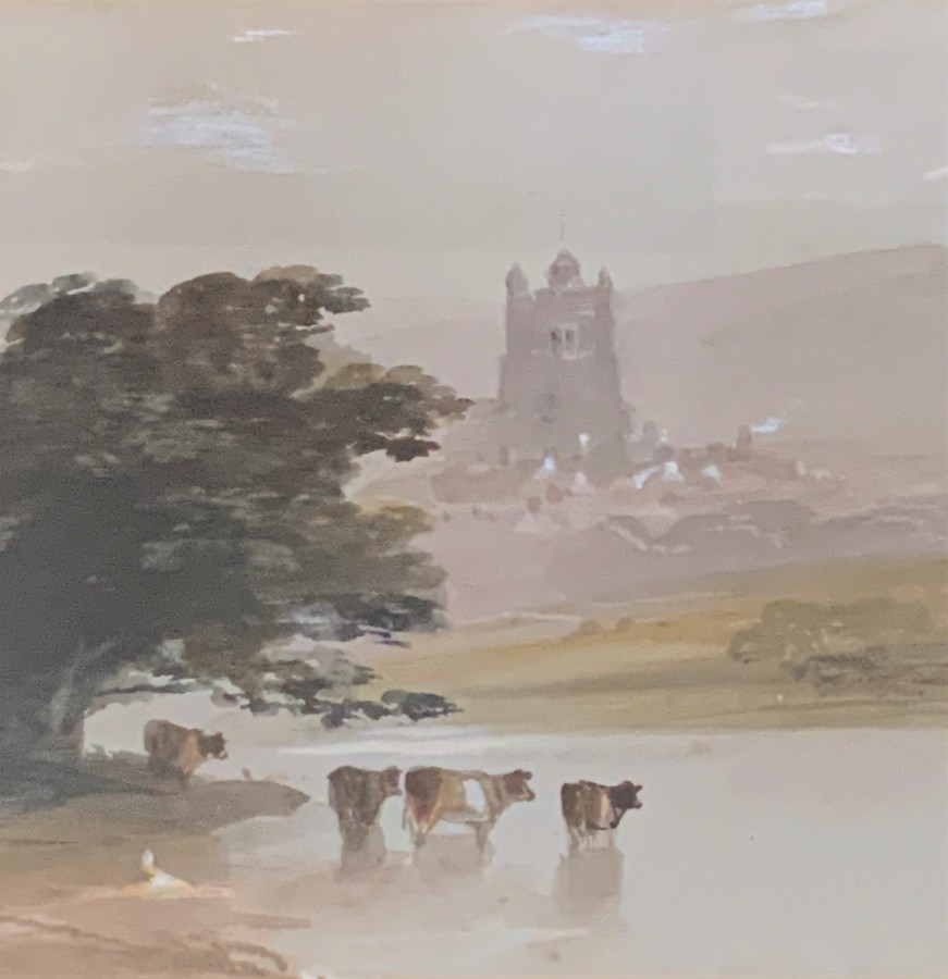 Antique Early 20thc - English School - Watercolour / Gouache Painting - Cattle & Church