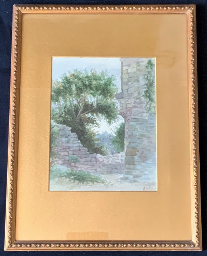 Beautiful - 19thc - Antique - Watercolour Painting - Architectural Ancient Ruin