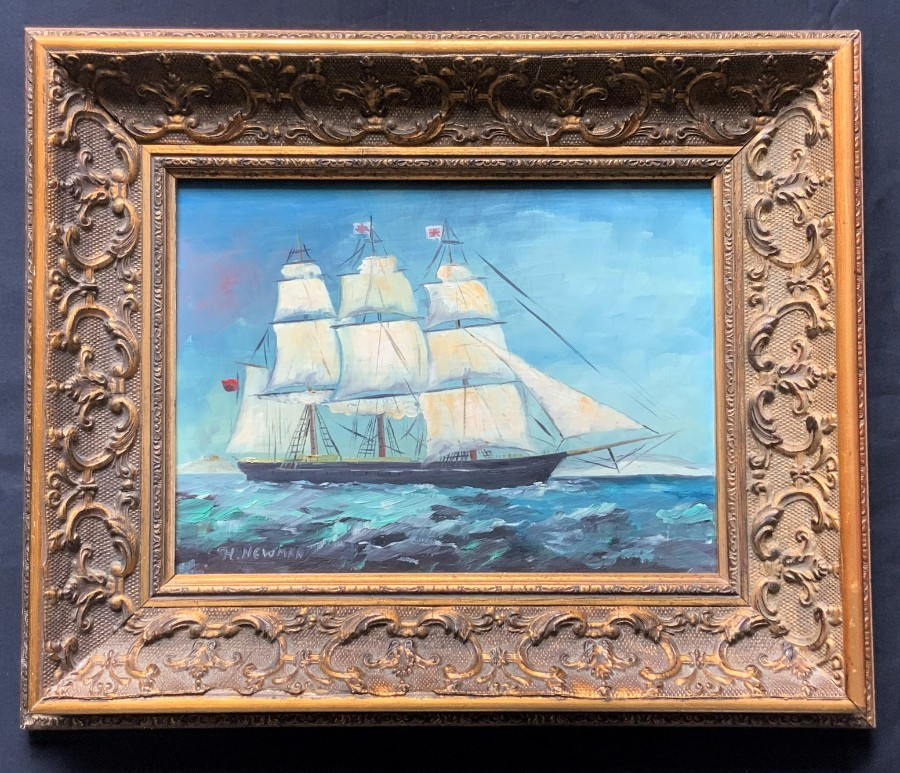Original Signed Antique Oil On Panel Seascape Painting 18th Century Masted Ship