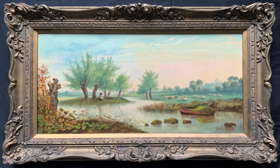 John Westall (1823-1894) Fine 19thc English Landscape with Sheep & a Boy Fishing