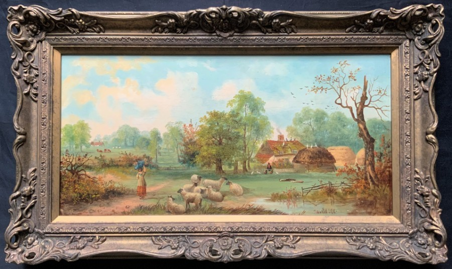 John Westall (1823-1894) Fine 19thc Country Farming Landscape Oil Painting
