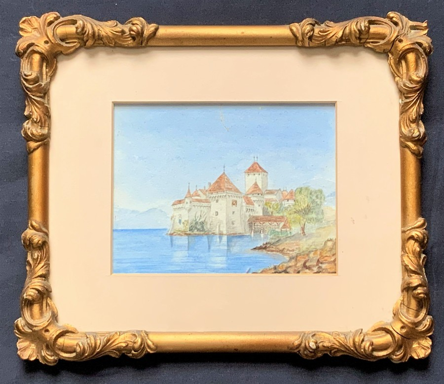 Original 19th Century Italian Lake Como Miniature Watercolour Landscape Painting