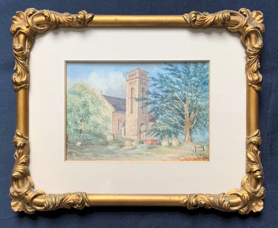 Lovely 19th Century Italian School Miniature Watercolour Churchyard Painting