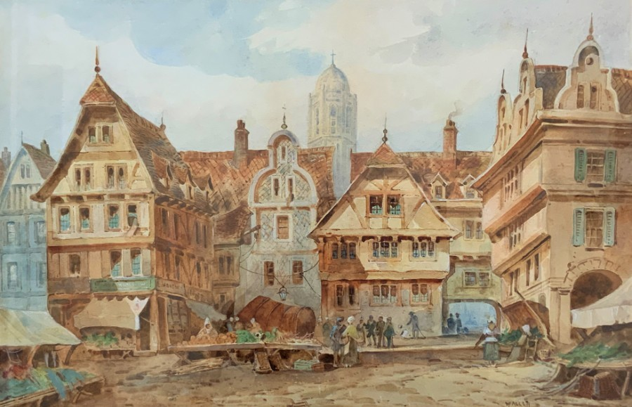 William Herbert Allen (1863–1943) Watercolour City Market Square Bruges, Belgium