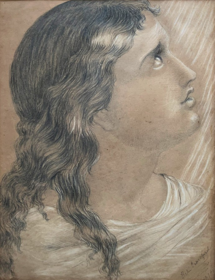 K Crawford (1873) 19th Century Pencil & Charcoal Portrait Study Old Master Gent