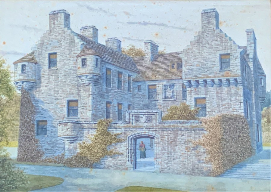 Fastidious 19thc Architectural Watercolour Painting - Sker Farm House, Porthcawl