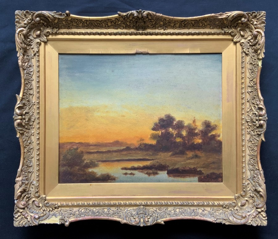 FAB Original 19thc Victorian Antique Sunset On The River Landscape Oil Painting