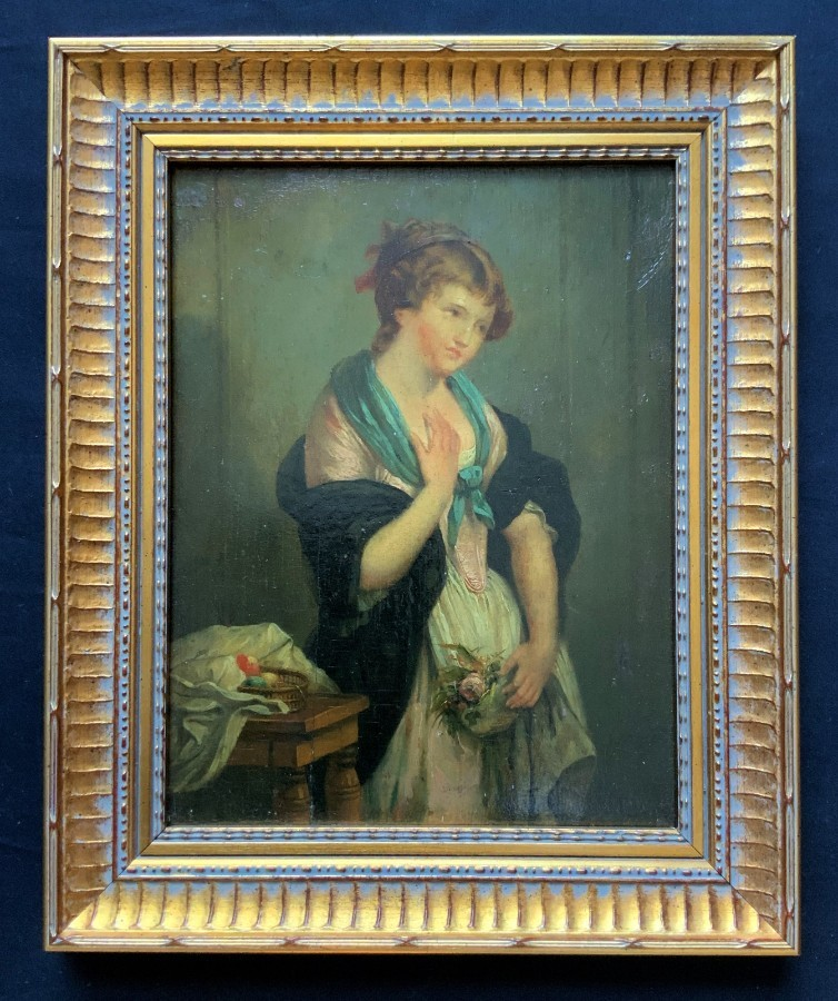 Gorgeous 19th Century Antique Victorian Oil Portrait On Panel Of A Pretty Female