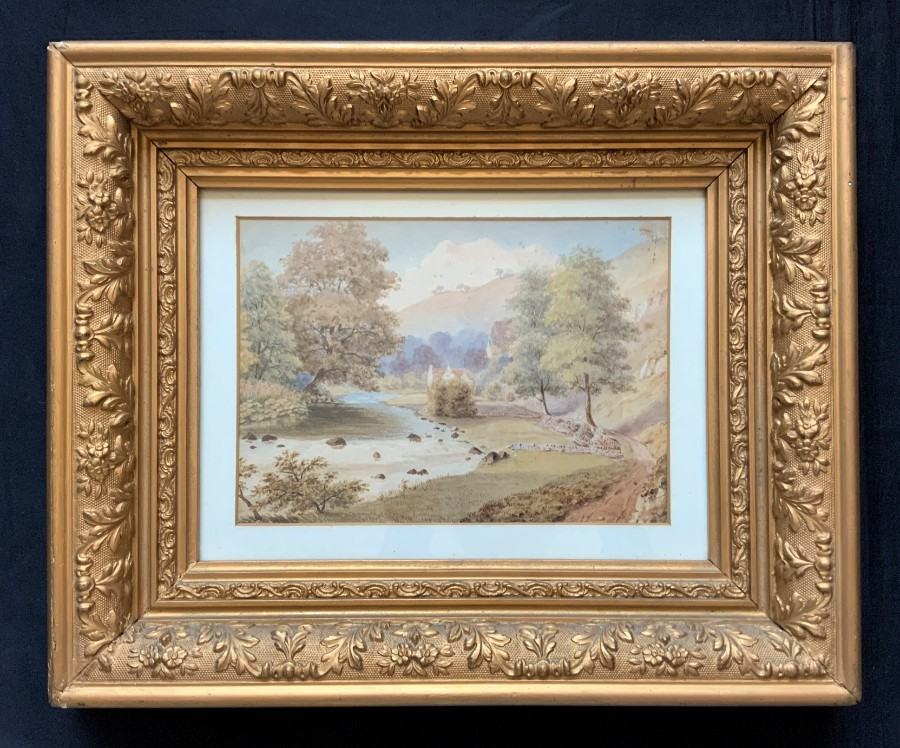 Original 19thc Victorian Antique Country Valley Landscape Watercolour Painting