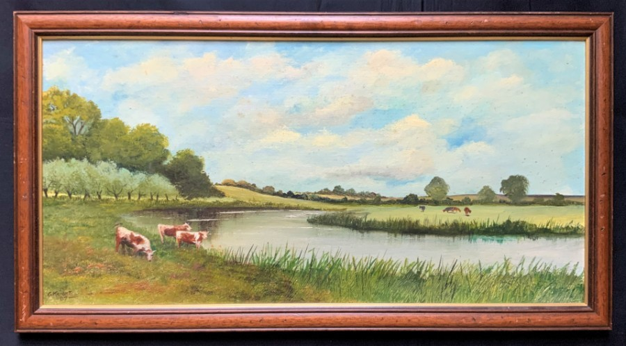 Gorgeous 20th Century English School Landscape Oil Painting - Grazing Cattle